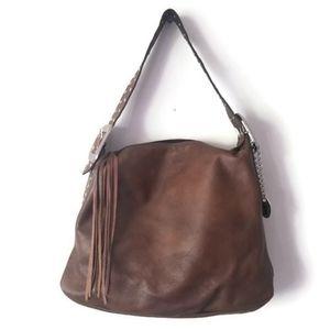 TOD's bag brown leather shoulder with tassel